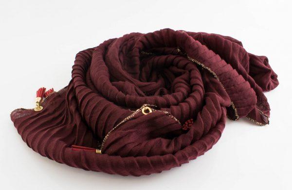 Border Leather Tassel Hijab - Hidden Pearls - Rosewood 2
