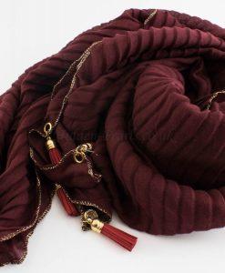 Border Leather Tassel Hijab - Hidden Pearls - Rosewood