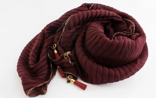 Border Leather Tassel Hijab - Hidden Pearls - Rosewood