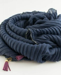 Border Leather Tassel Hijab - Hidden Pearls - Slate Blue
