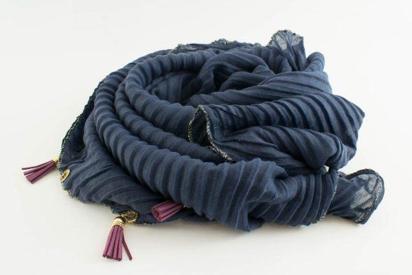 Border Leather Tassel Hijab - Hidden Pearls - Slate Blue