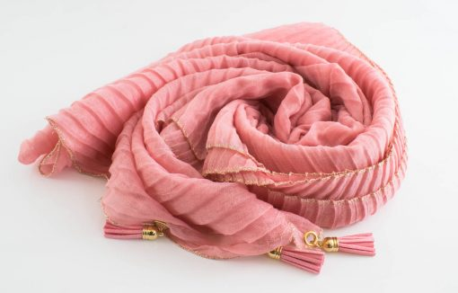 Border Leather Tassel Hijab - Hidden Pearls - Soft Pink