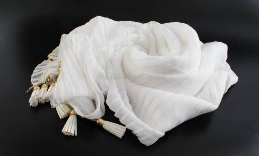 Border Leather Tassel Hijab - Hidden Pearls - White