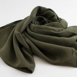 Crepe Chiffon Hijab - Hidden Pearls - Army Green 2