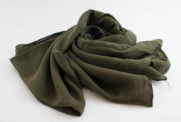 Crepe Chiffon Hijab - Hidden Pearls - Army Green 2