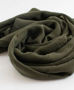 Crepe Chiffon Hijab - Hidden Pearls - Army Green