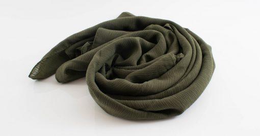 Crepe Chiffon Hijab - Hidden Pearls - Army Green