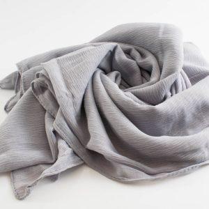 Crepe Chiffon Hijab - Hidden Pearls - Light Grey