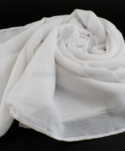 Crepe Chiffon Hijab - Hidden Pearls -White