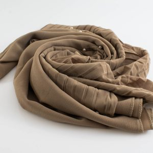 One Side Pleated Chiffon Hijab - Hidden Pearls - Latte