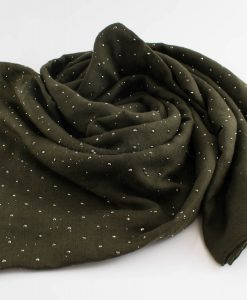 Diamante Hijab - Hidden Pearls - Army Green