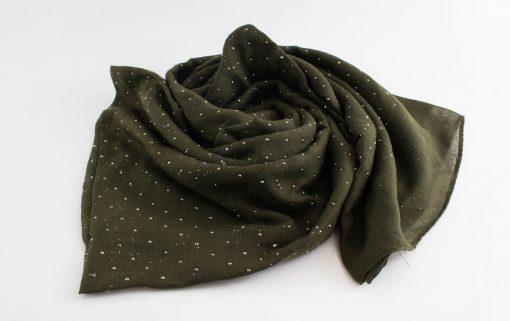 Diamante Hijab - Hidden Pearls - Army Green