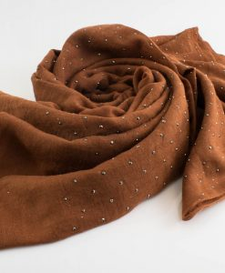 Diamante Hijab - Hidden Pearls - Brown