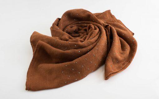 Diamante Hijab - Hidden Pearls - Brown