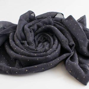 Diamante Hijab - Hidden Pearls - Dark Grey