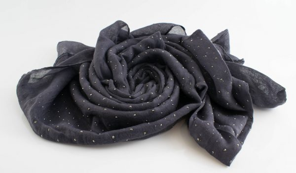 Diamante Hijab - Hidden Pearls - Dark Grey
