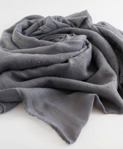 Diamante Hijab - Hidden Pearls - Light Grey