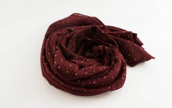 Diamante Hijab - Hidden Pearls - Maroon