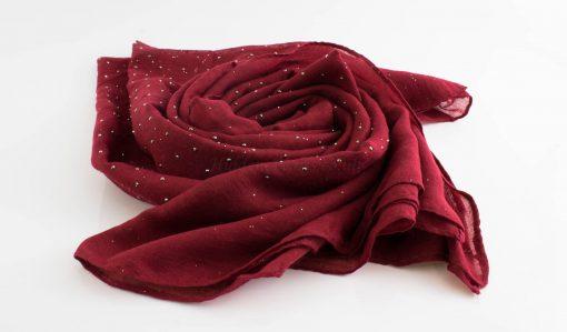 Diamante Hijab - Hidden Pearls - Rosewood