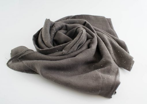 Diamante Hijab - Hidden Pearls - Taupe Grey