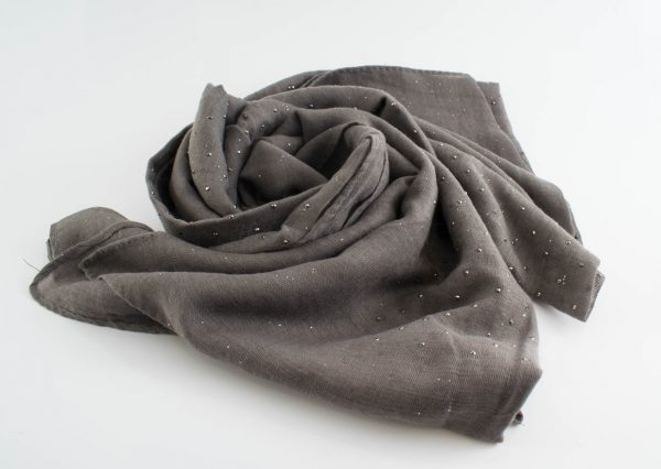 Diamante Hijab - Hidden Pearls - Taupe Grey
