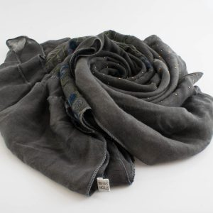 Embroidered Ombre Hijabs - Hidden Pearls -Dark Grey & Grey 2