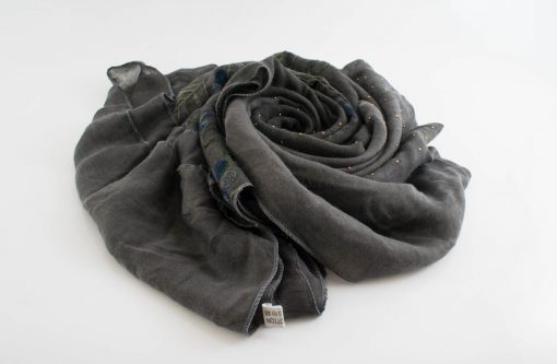 Embroidered Ombre Hijabs - Hidden Pearls -Dark Grey & Grey 2