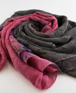 Embroidered Ombre Hijabs - Hidden Pearls -Dark Grey & Spanish Pink