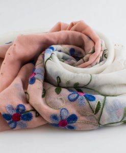 Embroidered Ombre Hijabs - Hidden Pearls -Pink & White