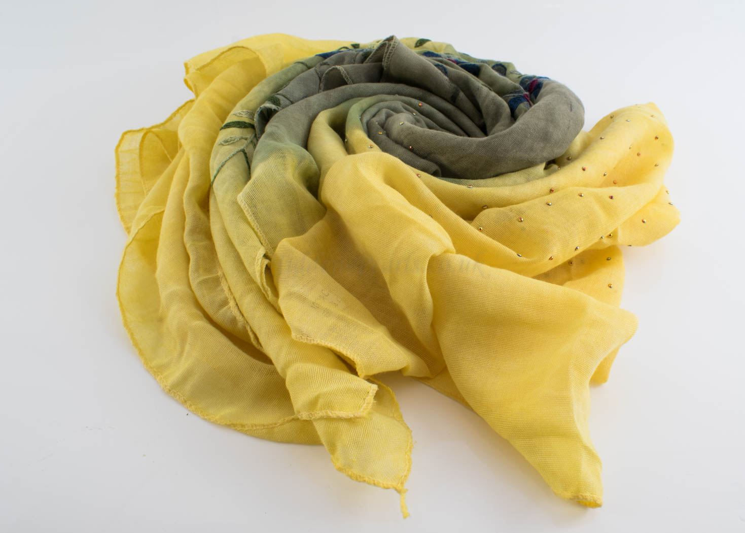 Embroidered Ombre Hijabs - Hidden Pearls -Yellow & Pistachio