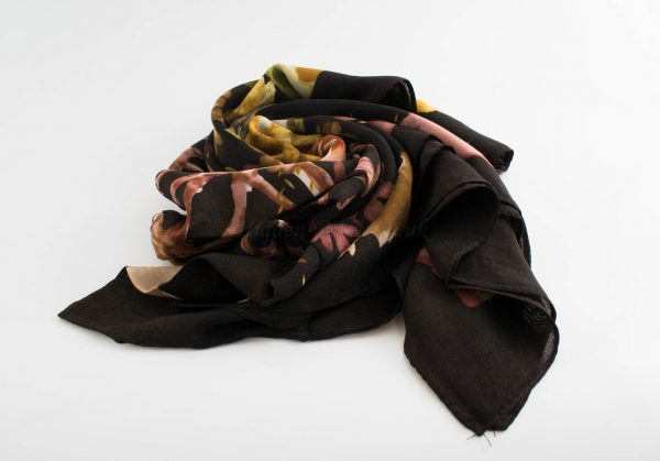 Floral Silk Square Hijabs - Hidden Pearls - Chocolate