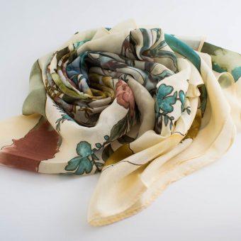 Floral Silk Square Hijabs - Hidden Pearls - Cream