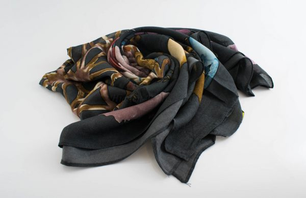 Floral Silk Square Hijabs - Hidden Pearls - Grey