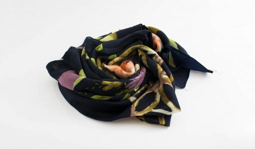 Floral Silk Square Hijabs - Hidden Pearls - Midnight Blue