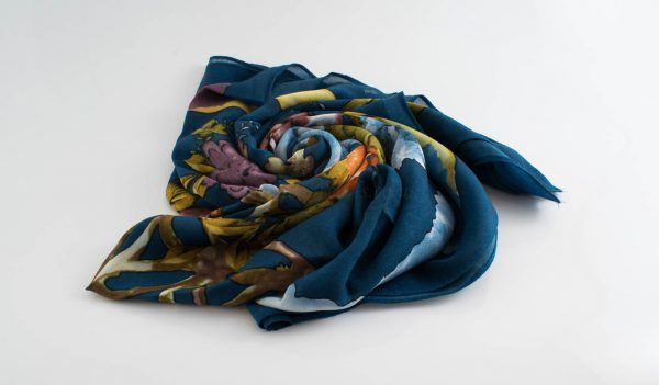 Floral Silk Square Hijabs - Hidden Pearls - Teal