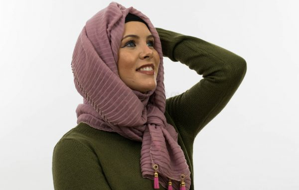 Leather Tassel With Lace Hijab - Lavender 4 - Hidden Pearls