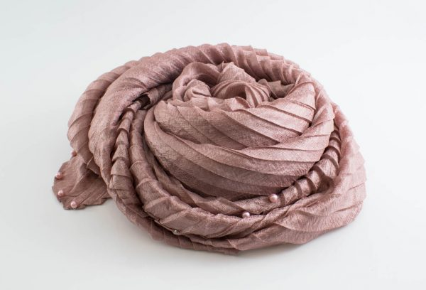 Metallic Pleated Hijab - Dusky Rose Hidden Pearls 3