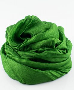 Metallic Pleated Hijab - Emerald Green