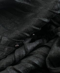 Metallic Pleated Hijab - Hidden Pearls - Black 2