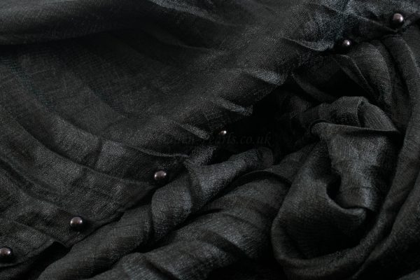 Metallic Pleated Hijab - Hidden Pearls - Black 2