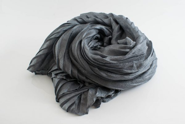 Metallic Pleated Hijab - Hidden Pearls -Pewter