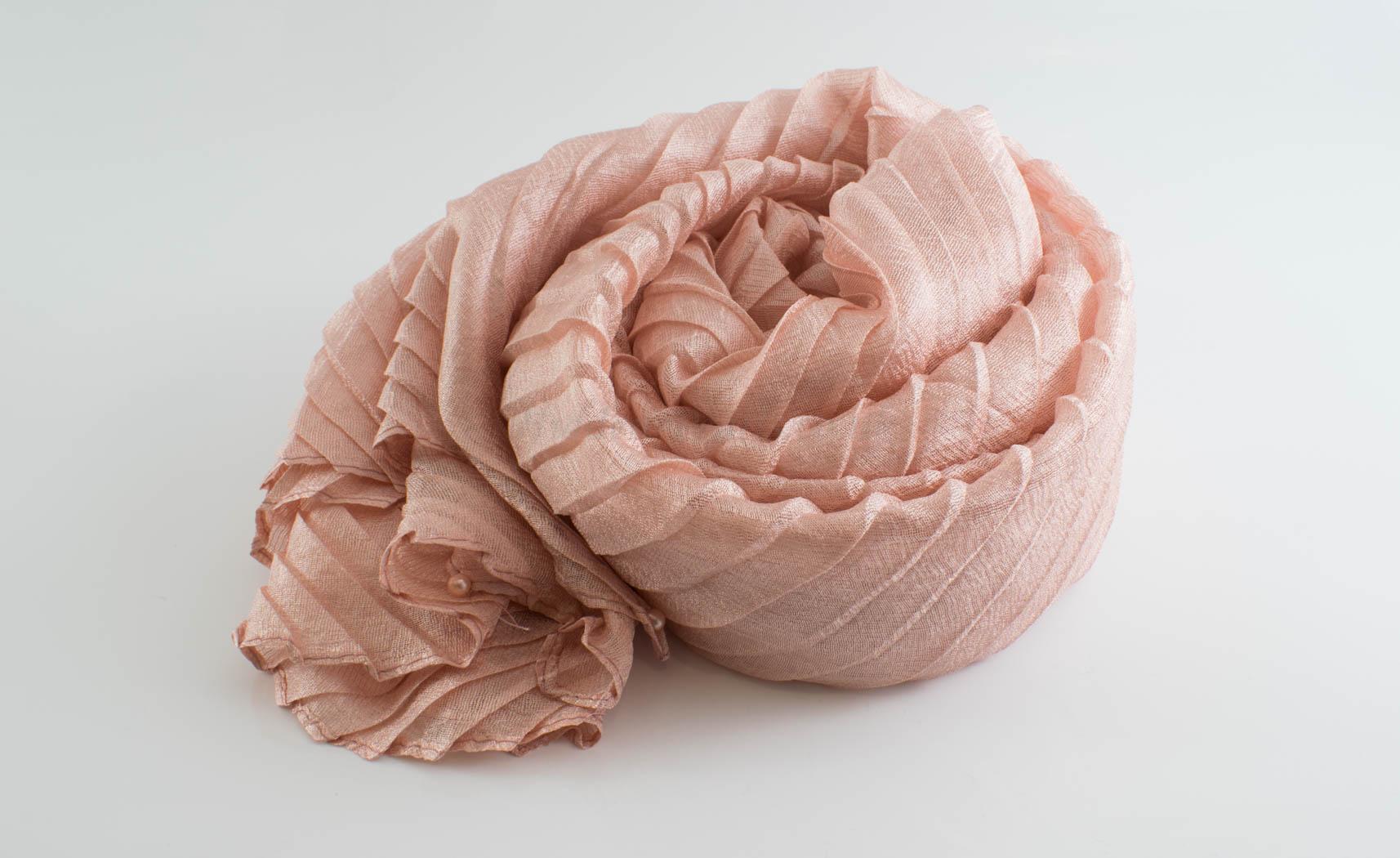 Metallic Pleated Hijab - Hidden Pearls - Soft Pink