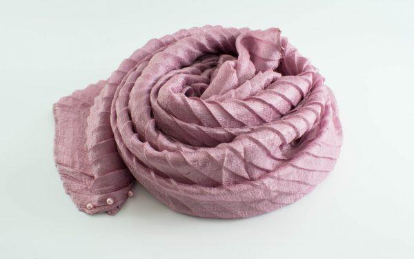 Metallic Pleated Hijab - Hidden Pearls - Spanish Pink