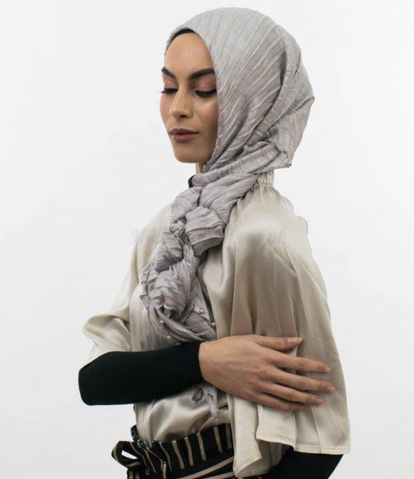 Metallic Pleated Silk Hijab Silver. 12