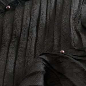 Mettalic Pleated Hijab - Hidden Pearls - Chocolate 2
