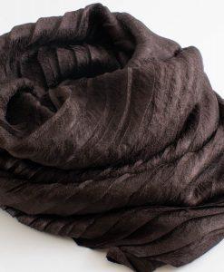 Metallic Pleated Hijab - Hidden Pearls - Chocolate