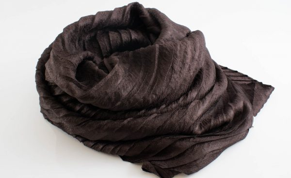 Metallic Pleated Hijab - Hidden Pearls - Chocolate