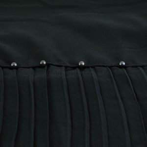 One Side Pleated Chiffon Hijab - Hidden Pearls - Black 1 - Copy