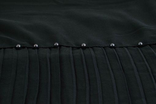 One Side Pleated Chiffon Hijab - Hidden Pearls - Black 1 - Copy