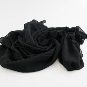 One Side Pleated Chiffon Hijab - Hidden Pearls - Black